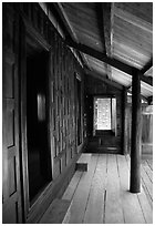 Teak house. Muang Boran, Thailand (black and white)