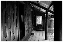Patio of house made of Teak. Muang Boran, Thailand (black and white)