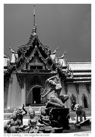 Temple in Ayuthaya style. Muang Boran, Thailand (black and white)