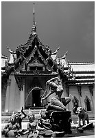 Temple in Ayuthaya style. Muang Boran, Thailand ( black and white)