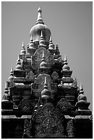 Srivijaya-period stupa of Hindu-Buddhist style. Muang Boran, Thailand (black and white)