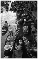 Canal from above, floating market. Damonoen Saduak, Thailand (black and white)