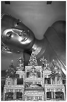 Head of reclining buddha, Phra Pathom Wat. Nakkhon Pathom, Thailand (black and white)