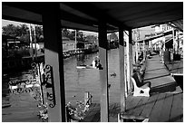 Houses along canal. Damonoen Saduak, Thailand (black and white)