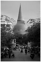 Phra Pathom Chedi  dominating the town skyline. Nakkhon Pathom, Thailand (black and white)