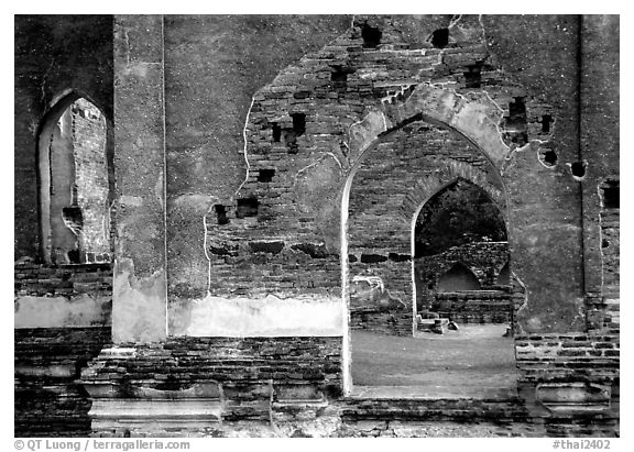 Ruins of the King Narai's palace. Lopburi, Thailand (black and white)
