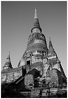 Wat Chai Mongkon. Ayuthaya, Thailand (black and white)