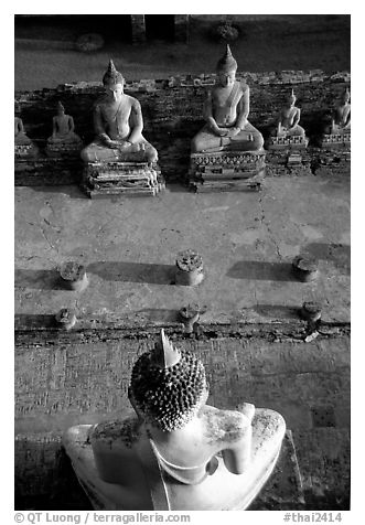 Buddha images, Wat Chai Mongkon. Ayuthaya, Thailand (black and white)