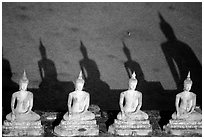 Buddha images and shadows, Wat Chai Mongkon. Ayuthaya, Thailand (black and white)