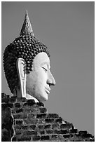Buddha head, Wat Chai Mongkon. Ayuthaya, Thailand (black and white)