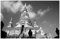Wat Chai Mongkon and buddhas. Ayuthaya, Thailand (black and white)