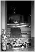 Large Buddha image in modern Wat. Ayuthaya, Thailand (black and white)