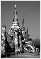 Ruined chedis. Ayuthaya, Thailand (black and white)
