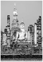 Wat Mahathat, morning. Sukothai, Thailand (black and white)