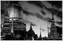 Wat Suan Dok temple at dusk. Chiang Mai, Thailand ( black and white)