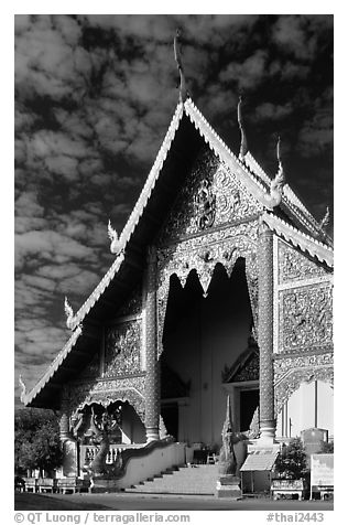 Wat Phra Singh, typical of northern Thai architecture. Chiang Mai, Thailand (black and white)