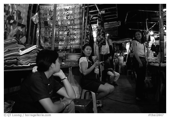 Vendors in the Night Bazaar. Chiang Mai, Thailand (black and white)