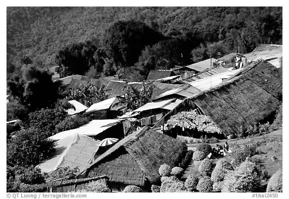 Hmong village. Chiang Mai, Thailand (black and white)