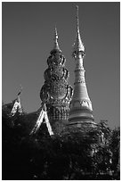 Wat Kuu Tao, with its unique chedi of Yunnanese design. Chiang Mai, Thailand (black and white)