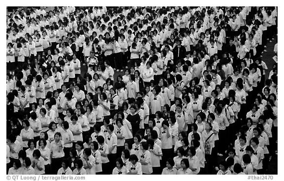 Rows of uniformed school girls lined up during prayer. Chiang Rai, Thailand (black and white)