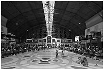 Main hall of Hualamphong train station. Bangkok, Thailand ( black and white)