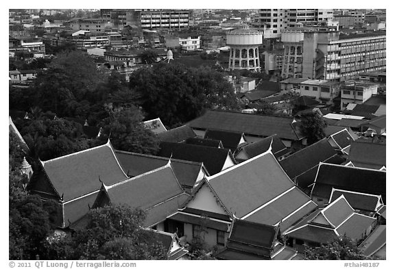 Temple roofs and modern buildings from above. Bangkok, Thailand (black and white)