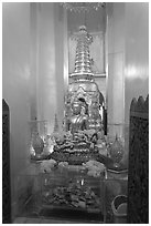 Central Buddha image, Wat Saket. Bangkok, Thailand ( black and white)