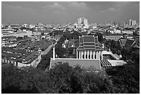View of temples and city. Bangkok, Thailand (black and white)