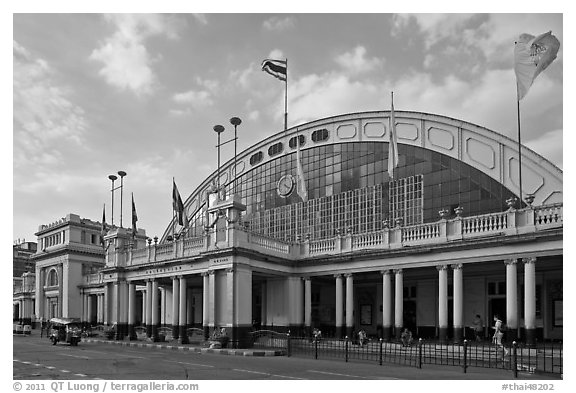 Facade of Hualamphong railroad station. Bangkok, Thailand (black and white)