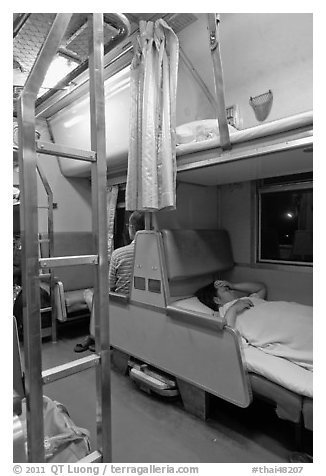 Passenger in sleeping train. Thailand (black and white)