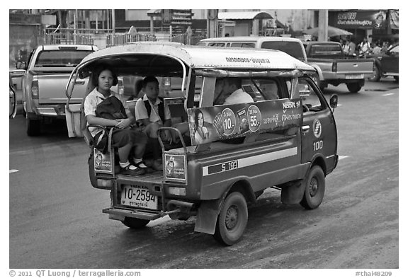 Schoolchidren in back of truck. Thailand (black and white)