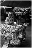Food for sale on back of motorbike. Thailand (black and white)