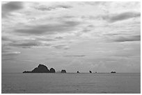 Distant rocky islets, Ao Nang, Andaman Sea. Krabi Province, Thailand (black and white)