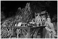 Pranang Cave shrine, Rai Leh. Krabi Province, Thailand (black and white)