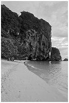 Pranang Cave Beach and limestone crag, Railay. Krabi Province, Thailand ( black and white)
