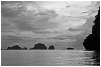 Offshore limestone islets, Railay. Krabi Province, Thailand ( black and white)
