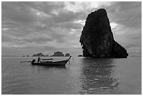 Boat and Happy Island, Railay. Krabi Province, Thailand (black and white)