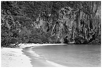 Pranang Cave Beach and limestone cliff, Railay. Krabi Province, Thailand ( black and white)