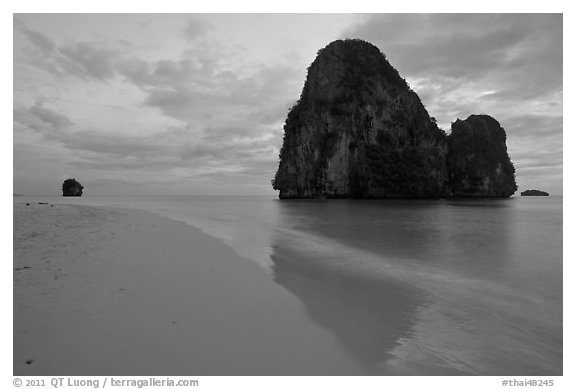 Happy Island reflected on beach, Railay. Krabi Province, Thailand (black and white)