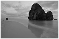 Happy Island reflected on beach, Railay. Krabi Province, Thailand ( black and white)