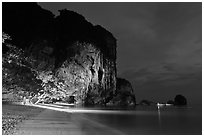 Phra Nang beach at night. Krabi Province, Thailand (black and white)