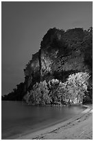 Railay East beach at night. Krabi Province, Thailand (black and white)