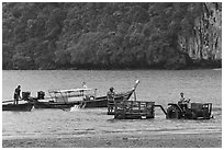 Tractor and longtail boat,  Railay East. Krabi Province, Thailand (black and white)