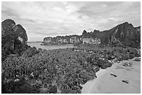 Railay peninsual seen from Laem Phra Nang. Krabi Province, Thailand ( black and white)