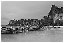 Boats and cliffs,  Hat Rai Leh West. Krabi Province, Thailand (black and white)