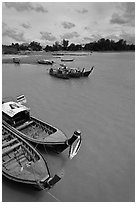 Ao Nammao harbor. Krabi Province, Thailand (black and white)