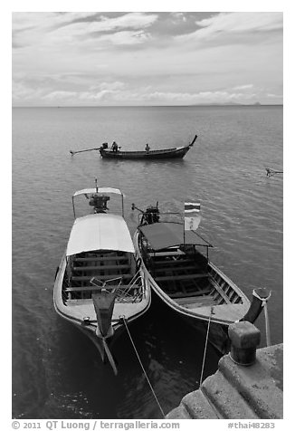 Boats and Adaman Sea, Ao Nammao. Krabi Province, Thailand (black and white)