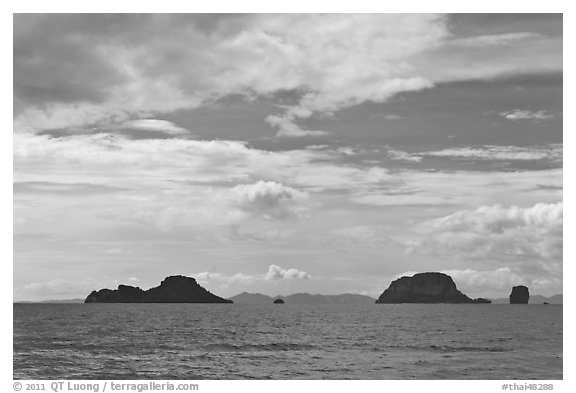 Islands, Adaman Sea. Krabi Province, Thailand (black and white)