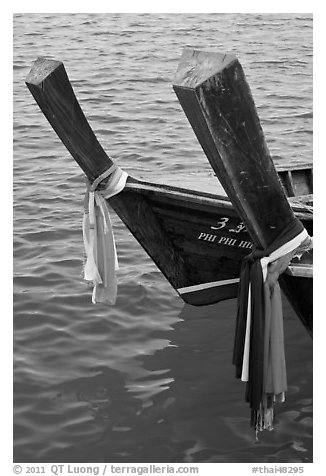 Ribons on prow of two longtail boats, Ko Phi-Phi Don. Krabi Province, Thailand (black and white)