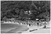 Packed beach, Ao Lo Dalam, Phi-Phi island,. Krabi Province, Thailand (black and white)